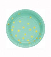 Kleine Pappteller - fresh mint/gold - 8 Stück