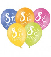 "Luftballon-Set ""8th Birthday"" - bunt - 6 Stück"