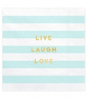 "Servietten ""Live Laugh Love"" - hellblau - 20 Stück"