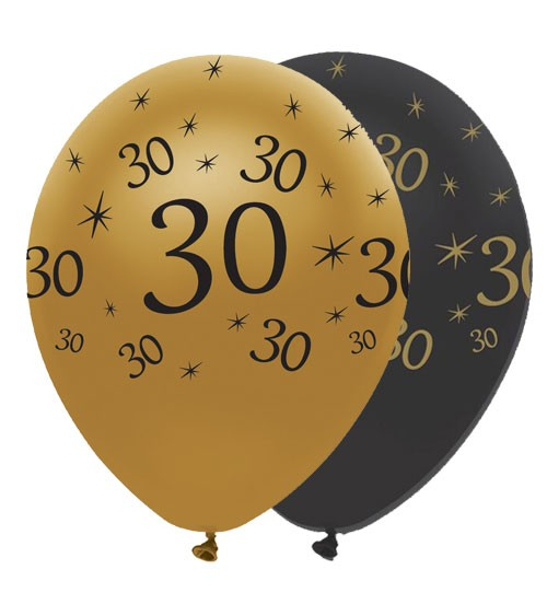 "Luftballon-Set ""30"" - schwarz/gold - 6 Stück"
