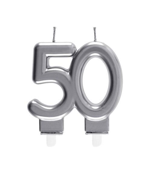 "Geburtstagskerze ""50"" - silber - 7,5 x 7 cm"