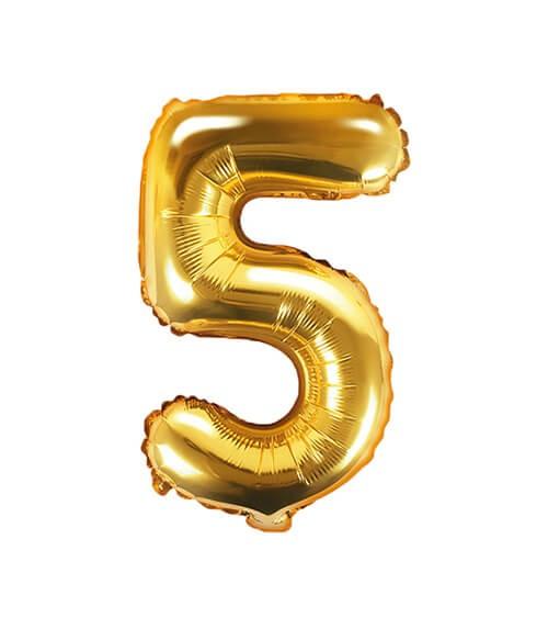 "Folienballon Zahl ""5"" - gold - 35 cm"