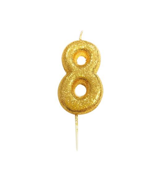"""Geburtstagskerze mit Glitter """"8"""" - gold"""