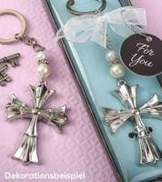 "Schlüsselanhänger aus Metall ""Elegantes Kreuz"" - silber"