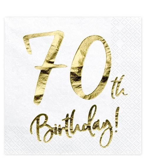 """Servietten """"70th Birthday!"""" - weiß/metallic gold - 20 Stück"""