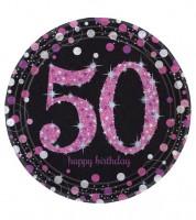 """Pappteller """"Sparkling Pink"""" - 50. Geburtstag - 8 Stück"""