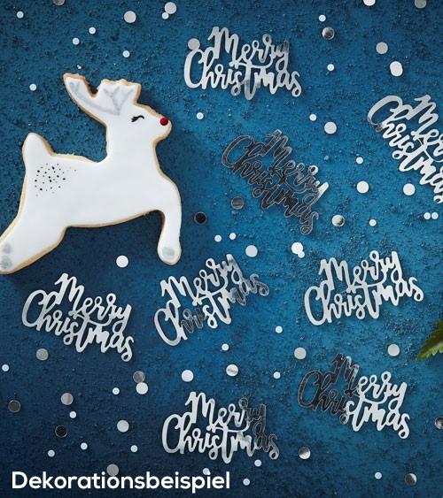 "Streukonfetti ""Merry Christmas"" - metallic silber -14g"
