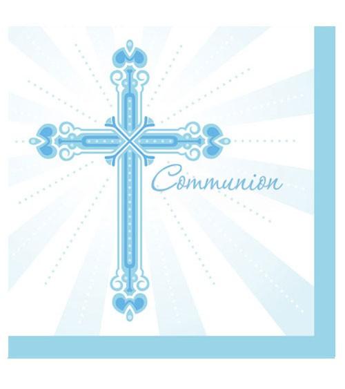 """Servietten """"Kreuz - hellblau"""" - """"Communion"""" - 36 Stück"""