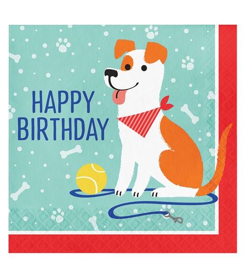 """Servietten """"Hunde-Party"""" - Happy Birthday - 16 Stück"""