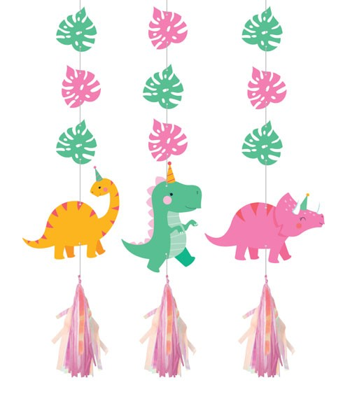 """3er-Motivgirlande mit Tasseln """"Lustige Dinos"""" - Farbmix Pastell"""