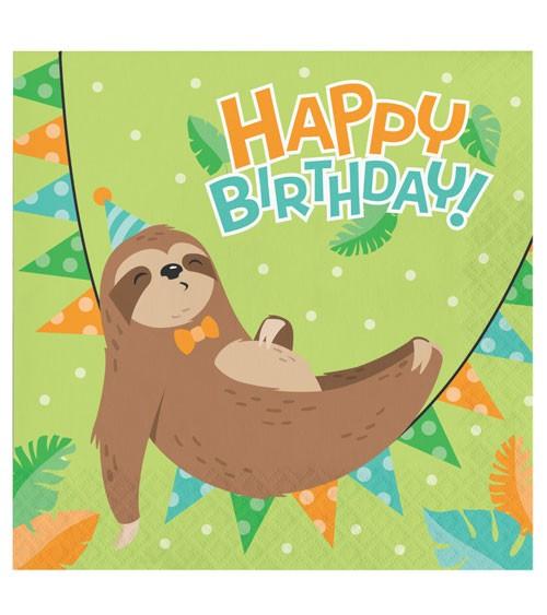 """Servietten """"Faultier-Party"""" - Happy Birthday - 16 Stück"""