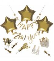 "Silvester-Deko-Set ""Happy New Year"" - metallic gold - 17-teilig"