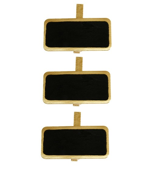 Mini-Kreidetafel mit Klammer und Rand - gold - 12 Stück