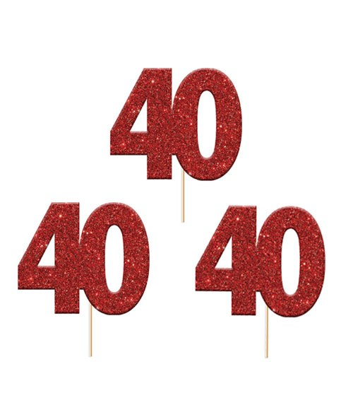 "Cupcake-Topper Zahl ""40"" - glitter rot - 12 Stück"