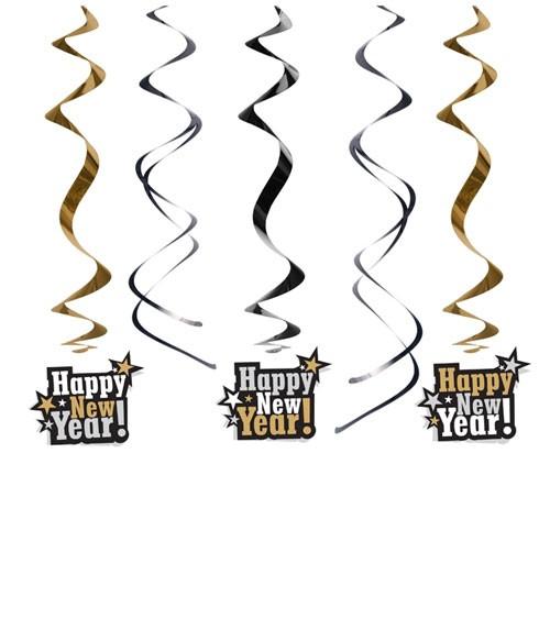 """Spiralgirlanden """"Happy New Year"""" - 5 Stück"""