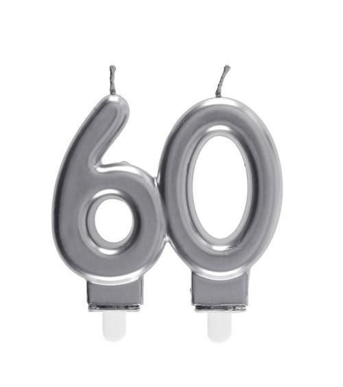 "Geburtstagskerze ""60"" - silber - 7,5 x 7 cm"