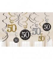 """Spiralgirlanden """"Sparkling Celebration"""" - 50. Geburtstag - 12 Stück"""