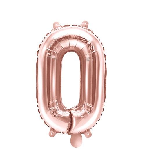 "Folienballon Zahl ""0"" - rosegold - 35 cm"
