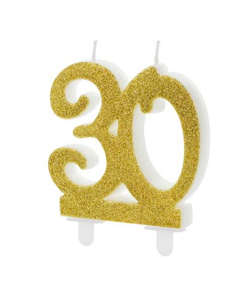 """Script-Zahlenkerze """"30"""" - glitter gold - 7,5 cm"""