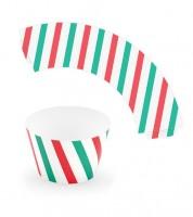 Cupcake-Wrapper mit Streifen - rot/grün - 6 Stück