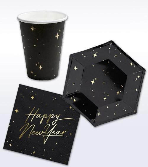 "Silvester-Deko-Set ""Happy New Year"" - schwarz & gold - 32-teilig"
