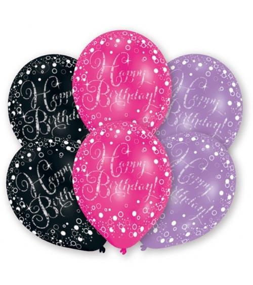 "Metallic-Luftballon-Set ""Happy Birthday"" - schwarz, pink, lila - 6 Stück"