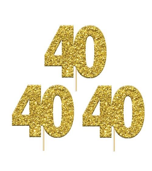 "Cupcake-Topper Zahl ""40"" - glitter gold - 12 Stück"