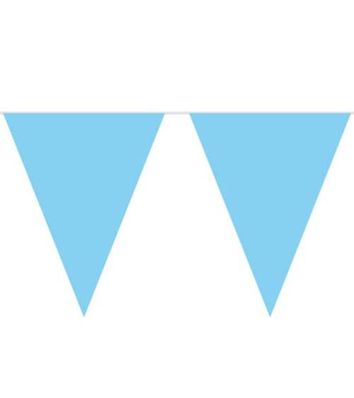 XL-Wimpelgirlande aus Kunststoff - hellblau - 10 m