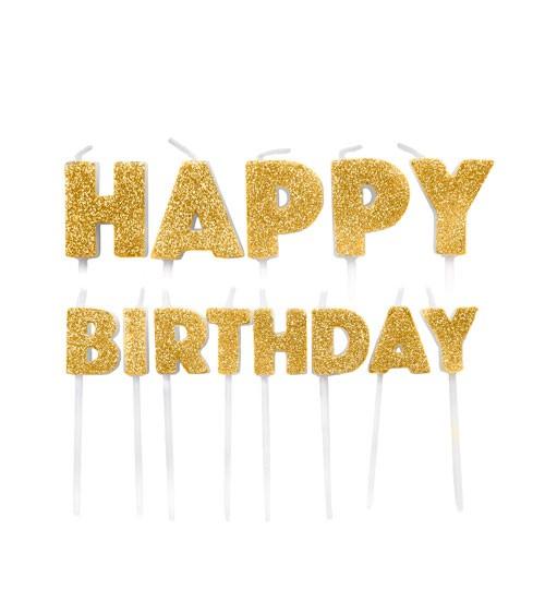 """Kuchenkerzen-Set """"Happy Birthday"""" - glitter gold - 13-teilig"""