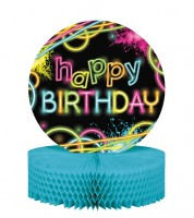 "Wabenaufsteller ""Neon Party"" - Happy Birthday"