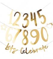 "Individualisierbare Girlande ""Lets Celebrate""- gold - 25-teilig"