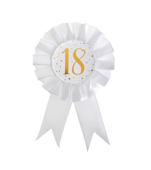 """Geburtstagsorden """"18"""" - weiß, gold"""