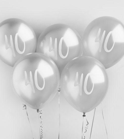 """Metallic-Luftballons """"40"""" - silber - 5 Stück"""