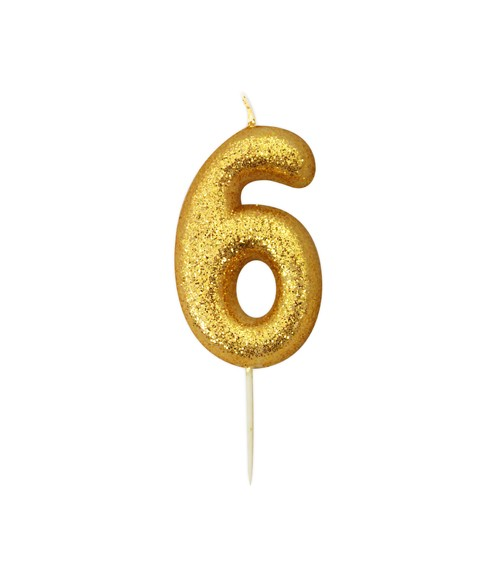 """Geburtstagskerze mit Glitter """"6"""" - gold"""