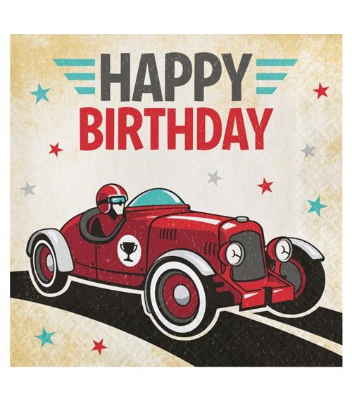 """Servietten """"Oldtimer Rennwagen"""" - Happy Birthday - 16 Stück"""