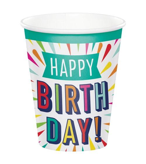 """Pappbecher """"Birthday Colours"""" - Happy Birthday - 8 Stück"""
