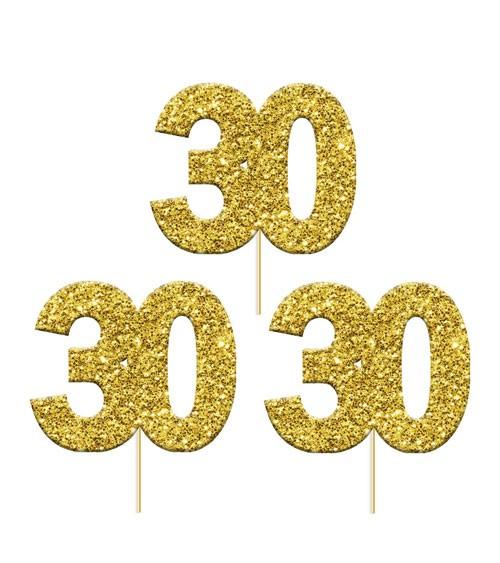 "Cupcake-Topper Zahl ""30"" - glitter gold - 12 Stück"