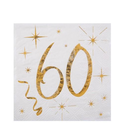 """Cocktail-Servietten """"60"""" - weiß, gold - 20 Stück"""
