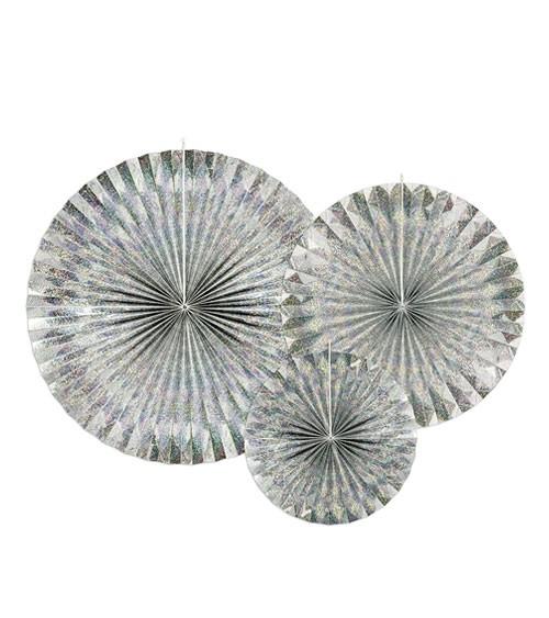 Rosetten-Set - holographic silber - 3-teilig