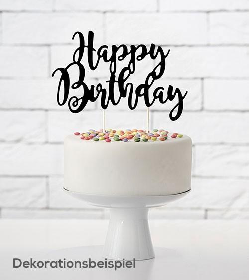 """Tortenstecker aus Papier """"Happy Birthday"""" - schwarz"""
