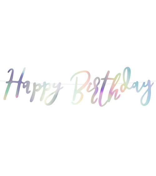Happy Birthday-Girlande - irisierend - 62 cm