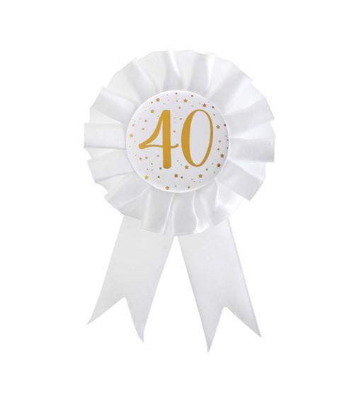 """Geburtstagsorden """"40"""" - weiß, gold"""