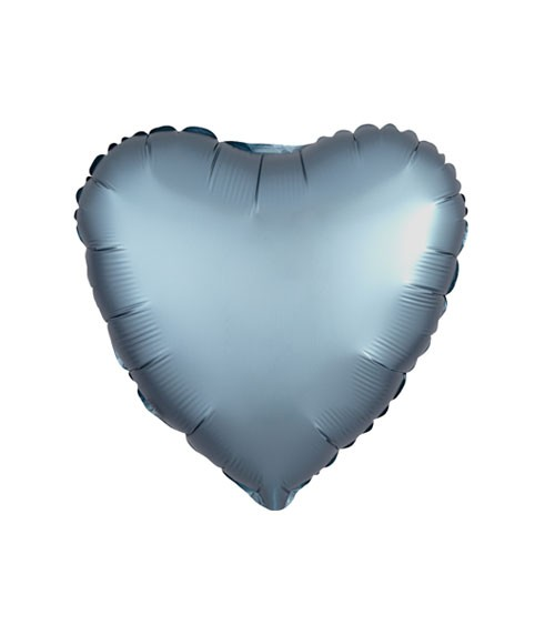 "Herz-Folienballon ""Satin Luxe"" – stahlblau – 43 cm"