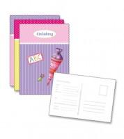 """Einladungs-Postkarten """"Einschulung"""" - rosa/gelb/lila - 6 Stück"""