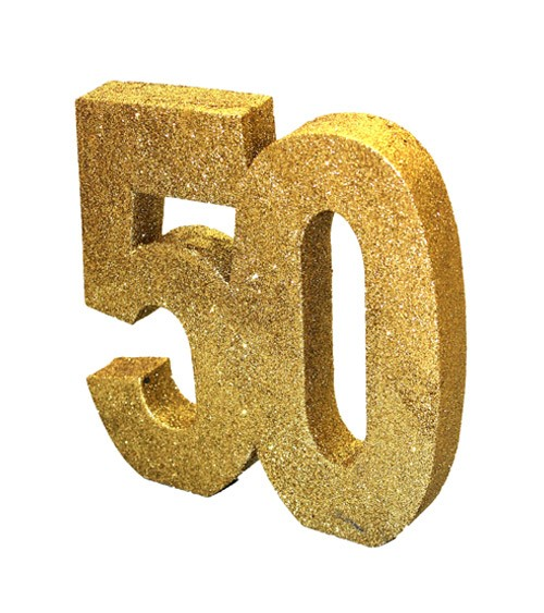 "Tischdeko Zahl ""50"" - glitter gold - 20 cm"