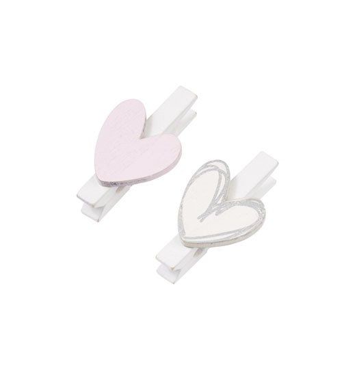 Holz-Herzen mit Klammern - rosa/silber - 4-teilig