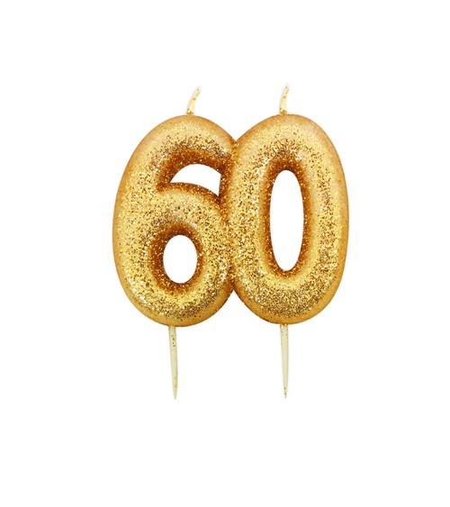 """Geburtstagskerze mit Glitter """"60"""" - gold"""