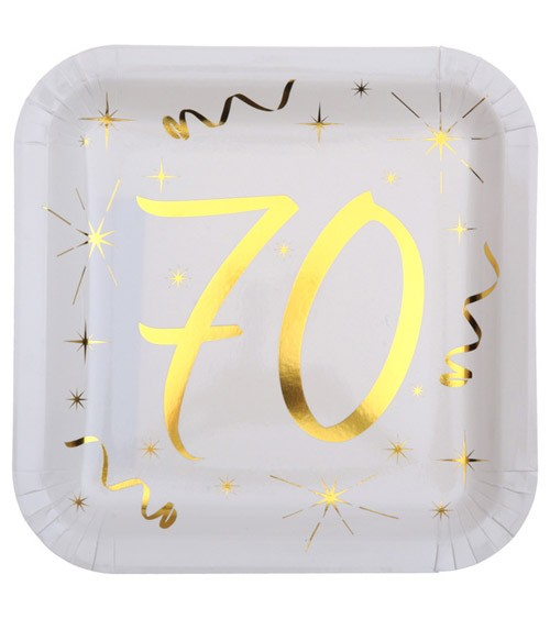 """Viereckige Pappteller """"70"""" - weiß, gold - 10 Stück"""
