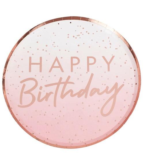 8 Partyteller Happy Birthday Pink Ombre Geburtstag Party Tisch-Deko