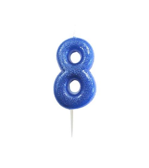 """Geburtstagskerze mit Glitter """"8"""" - blau"""